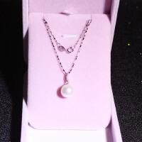 天然淡水珍珠项链925纯银近圆吊坠锁骨韩版单颗简约送妈妈礼物女