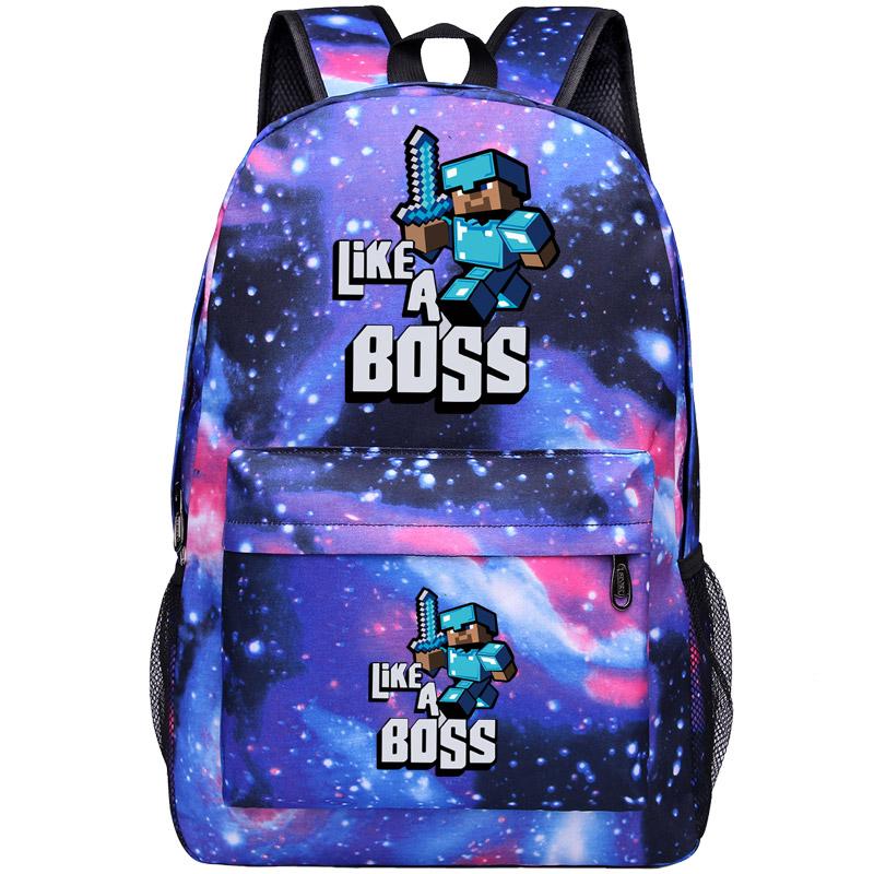 夜光我的世界苦力怕书包男女中小学生末影人双肩包动漫周边背包包 天蓝色 星空蓝上下LIKE