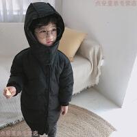 2018新款儿童羽绒服女童中长款加厚婴儿男童宝宝冬装韩版童装外套 黑色