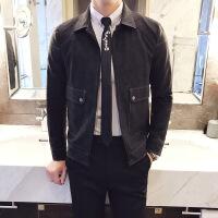 新款秋冬男士皮衣修身韩版翻领夹克青少年时尚休闲潮男外套夹克衫