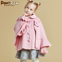 【3件4折 到手价:559】Pawinpaw宝英宝卡通小熊童装女童斗篷式大衣外套