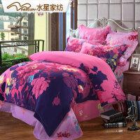 水星家纺 全棉磨毛印花四件套 心洛盛开 花卉套件 床上用品线下同款