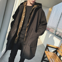 风衣男士春秋季韩版2018新款蝙蝠袖中长款修身潮流学生帅气外套男