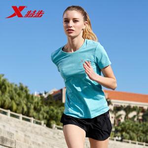 特步女子运动服舒适跑步短袖T恤883128019030
