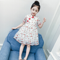 女童连衣裙2018新款夏装儿童民族风旗袍裙子女孩碎花纱裙公主裙夏