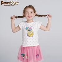 【3件3折 到手价:89】Pawinpaw卡通小熊童装夏款女童圆领短袖T恤西瓜图案可爱风