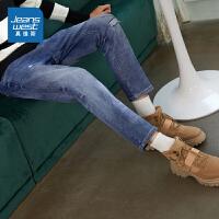 [3折到手价:103.9元,秒杀狂欢再续仅限3.31-4.3]真维斯牛仔裤男秋季新款青年时尚韩版弹力做旧水洗牛仔长裤子
