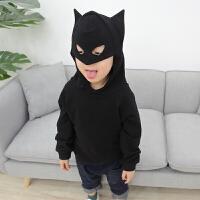 男女儿童酷酷的蝙蝠帽子薄款连帽卫衣