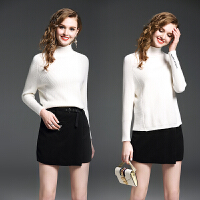 冬装新款女装纯色打底半高领毛衣女+毛呢半身短裙时尚套装