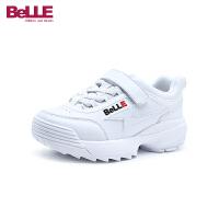 百丽Belle童鞋儿童纯色运动鞋复古时尚女童学生鞋透气防滑休闲鞋跑步鞋(9-15岁可选)DE0878