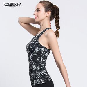 【限时特惠】KOMBUCHA瑜伽背心2018新款女士速干透气弹力背心健身跑步无袖带胸垫印花背心K0078