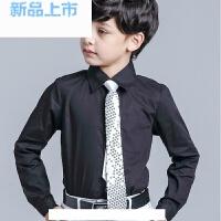 儿童衬衫男童礼服衬衣男孩西装白粉条纹蓝黑色春夏