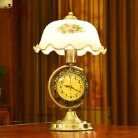 欧式复古卧室床头台灯 温馨带钟表可调光书房台灯创意