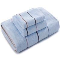 三利 纯棉彩条方巾+毛巾+浴巾礼盒三件套