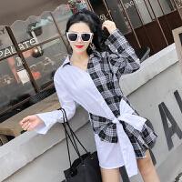 春装新款时尚蝴蝶结系带长袖收腰条纹拼色格子衬衣连衣裙