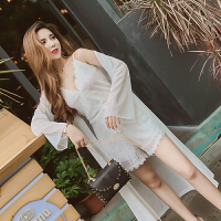 夏装新款性感女神V领蕾丝吊带连体裤+中长款防晒开衫套装