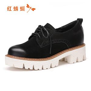 红蜻蜓女鞋秋冬皮鞋鞋子女单鞋厚底鞋WTB7330
