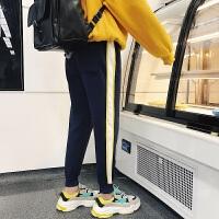 新品文艺 韩版男士冬装新款休闲小脚裤加绒条纹长裤子运动