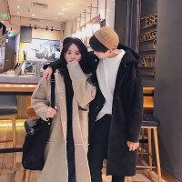 情侣秋冬季新款时尚男女韩版中长款宽松连帽大衣休闲保暖外套