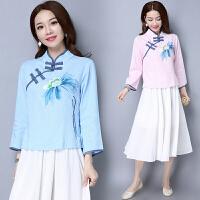 春装新款中国风服装改良民国女装修身唐装旗袍上衣长袖棉麻衫