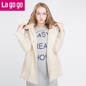 拉谷谷冬装新款纯色保暖女装纯色毛呢外套女秋冬