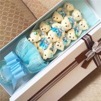 情人节礼物 11只泰迪熊卡通公仔花束 小熊花束创意礼品礼物七夕花束