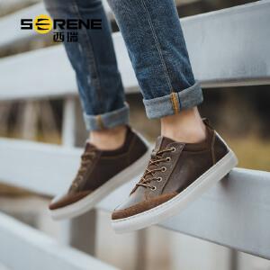 西瑞板鞋男士工装休闲鞋复古英伦青年潮鞋子百搭皮鞋2018春季新款6376