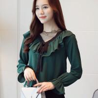 雪纺衫女长袖2018新款女装春装韩版网纱拼接蝴蝶结上衣洋气小衫 墨绿色
