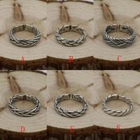 S925纯银男女简约泰银指环复古做旧款手工银麻绳编织开口戒指