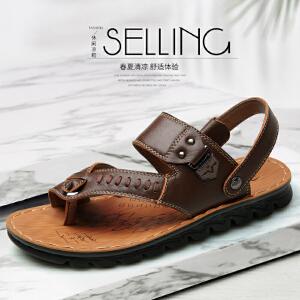 宜驰 EGCHI 凉鞋男式透气鞋子男士头层牛皮沙滩鞋 10837