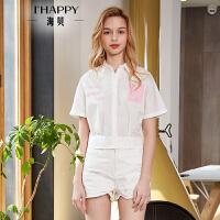 海贝2018夏季新款女装上衣 方领短袖字母印花收腰白色衬衫