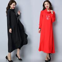 假两件连衣裙2018春夏装新款民族风女装复古长款长袖宽松绣花裙子