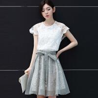 连衣裙夏高品质新款中裙蕾丝短袖套裙显瘦修身套装裙