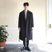 2018新款毛呢大衣男冬季长款潮男过膝加厚保暖韩版宽松呢风衣外套