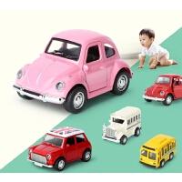 公交车巴士车模型 Q版迷你儿童玩具车回力校车合金小汽车