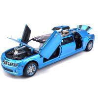 儿童玩具车仿真汽车模型合金回力车男孩玩具小车模玩宝宝金属玩具儿童节礼物 6开加长大黄蜂 蓝色礼盒装