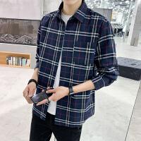 格子衬衣潮春秋外套2020新款撞色韩版宽松经典学生衬衫男长袖上衣