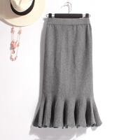 法式慵懒风冬春性感包臀针织裙显瘦毛线中长裙子高腰半身裙鱼尾裙 均码