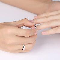 s925银情侣戒指女简约开口对戒日韩男女饰品一对生日礼物