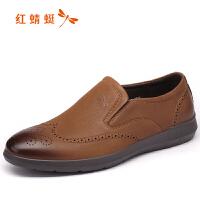 红蜻蜓夏秋季橡胶布鞋胶粘鞋男士真皮复古耐磨纯色新款休闲鞋