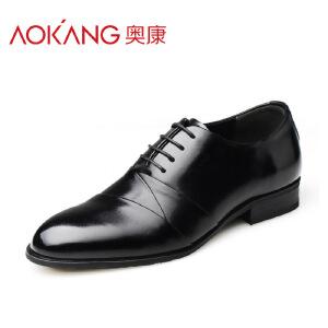 奥康男鞋商务正装皮鞋 男士英伦尖头系带新款婚鞋