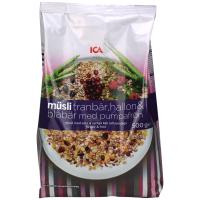 瑞典ICA麦片蔓越莓覆盆子蓝莓南瓜子什锦麦片混合麦片500g进口即食早餐营养麦片