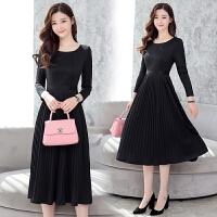 针织连衣裙2018早春季新款女韩版中长款时尚气质流行修身长裙子潮 黑色