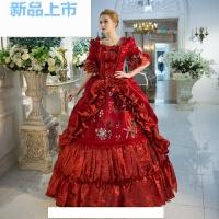 红色欧式宫廷服装女士演出服皇后英国服装表演话剧古典活动礼服