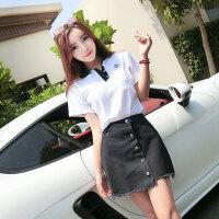 韩版学生装潮 夏季新品小清新短袖T恤单排扣牛仔半身裙A字裙套装