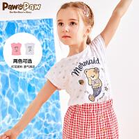 【新品6折 到手价:155】PawinPaw卡通小熊童装新款夏女童T恤短袖圆领透气印花潮