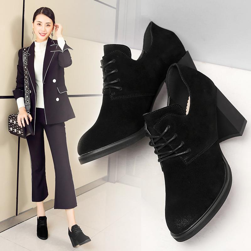 ZHR2018春季新款欧美风高跟鞋真皮女鞋百搭休闲鞋时尚粗跟单鞋女Q27