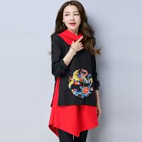 新款民族风女装秋装复古棉麻中长款大码刺绣女高领上衣 黑色