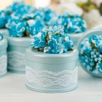 喜糖盒 结婚喜糖盒创意欧式马口铁糖果包装盒婚庆用品圆形红婚礼糖盒SN2939 天蓝色 蒂芙尼蓝 大号 直径10x高4c
