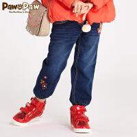 【秒杀价:90】 Pawinpaw宝英宝韩国小熊童装冬季款女童收脚口牛仔裤